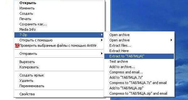 Использование архиватора 7-zip