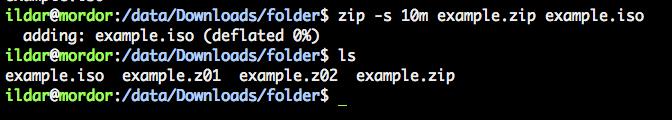 Разделение файлов на части в Mac OS X